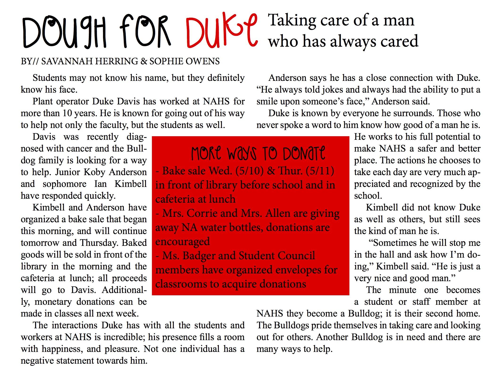Dough for Duke by//Savannah Herring & Sophie Owens – Blotter